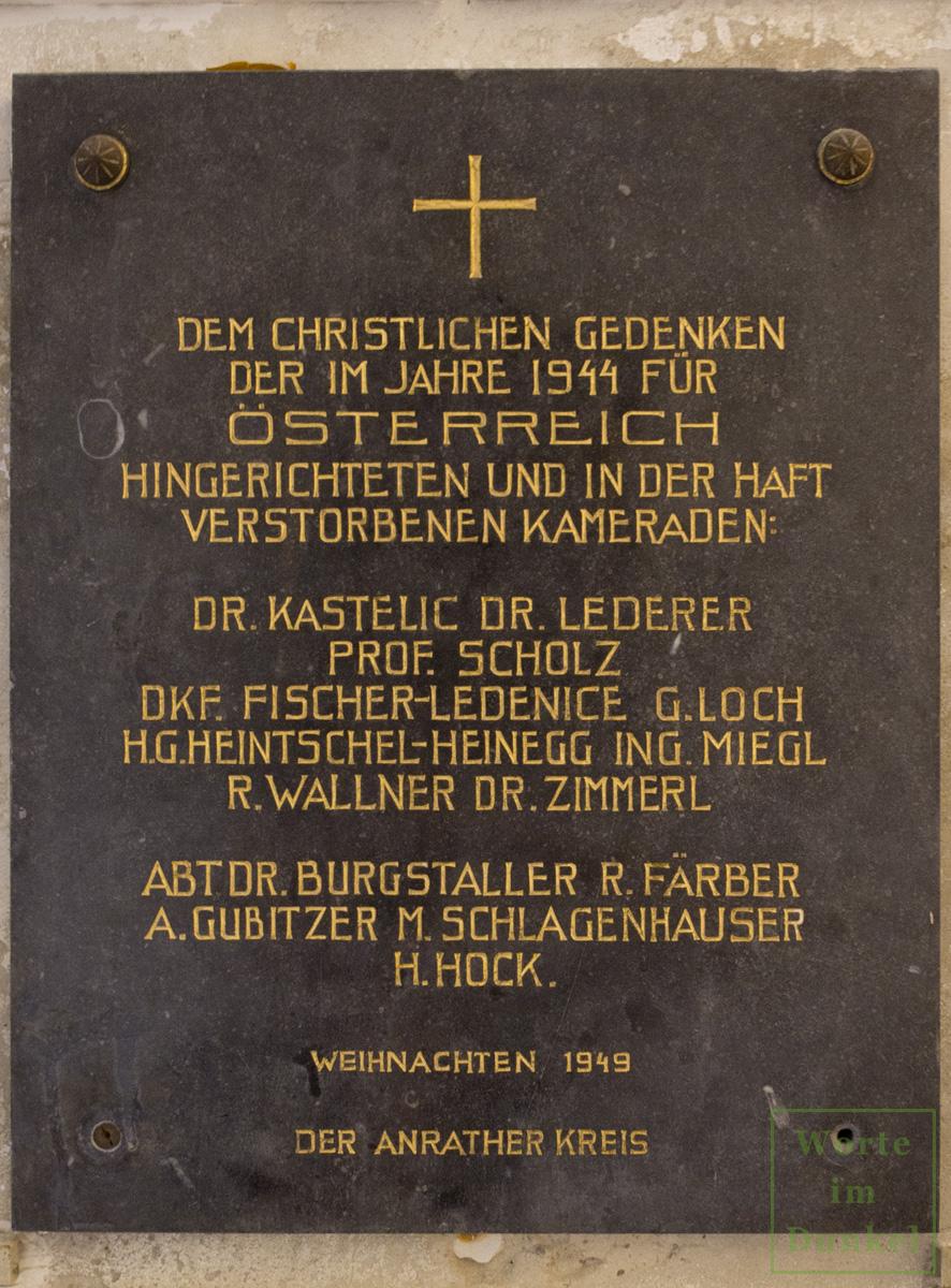Gedenktafel des Anrather Kreises für verstorbene und hingerichtete Widerstandskämpfer