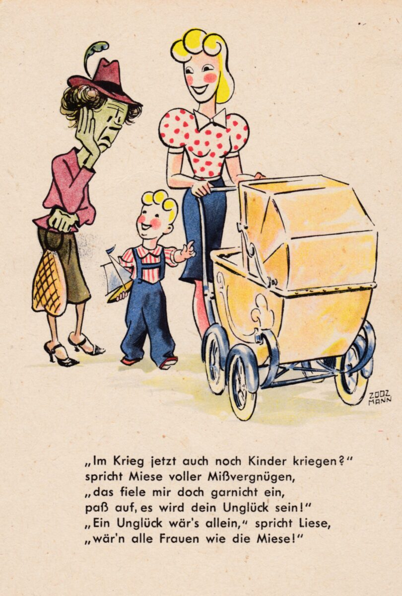 Ansichtskarte – Liese und Miese – Kinder kriegen