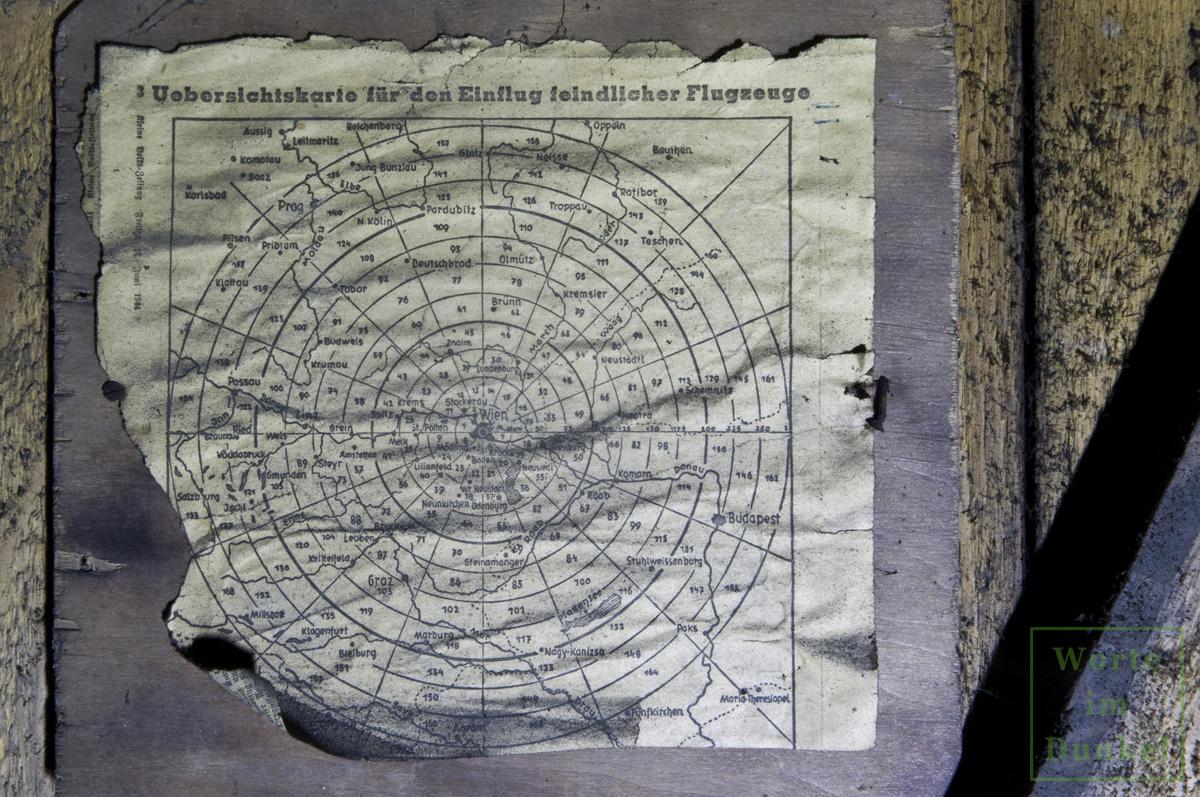 Übersichtskarte für den Einflug feindlicher Flugzeuge