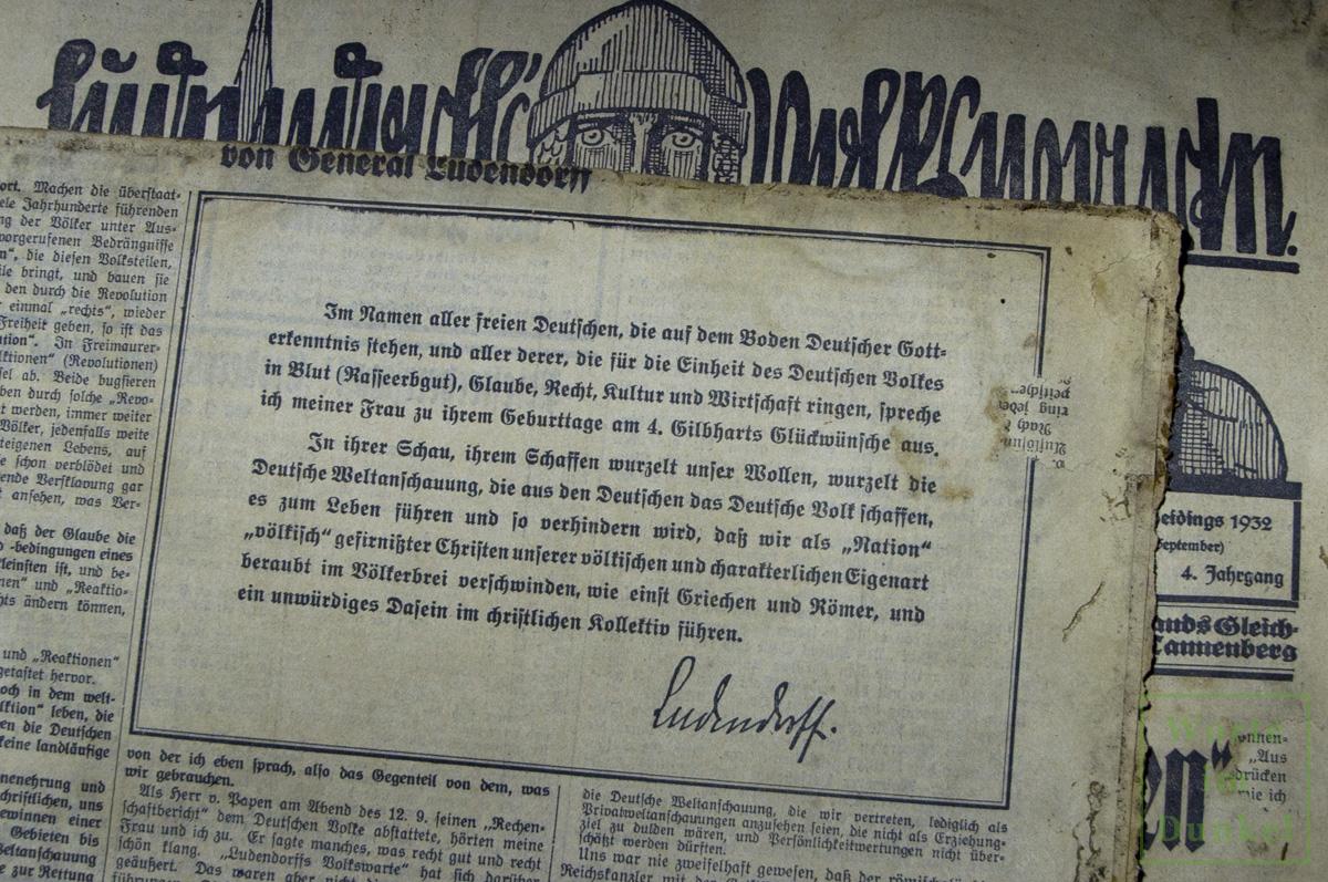 Ein verstörender Geburtstagsgruß Erich Ludendorffs an seine Frau Mathilde