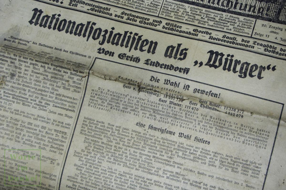 """Ausgabe der """"Ludendorffs Volkwarte"""" mit den Ergebnissen der Reichspräsidentenwahl von 1932"""