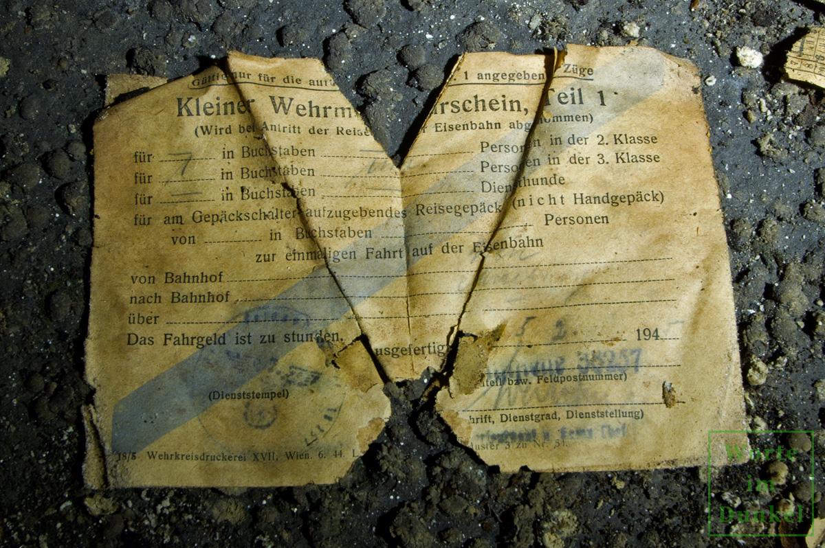 Wehrmachtfahrschein vom 5. Februar 1945