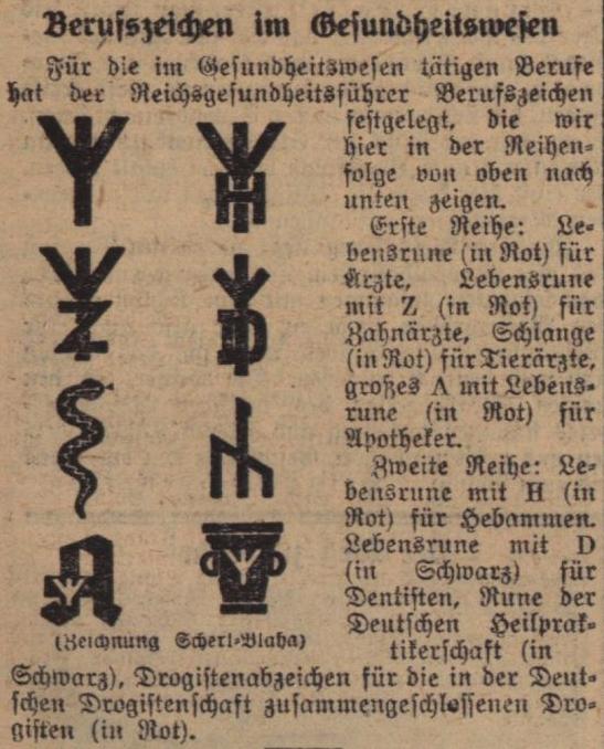 Zeitungsausschnitt mit den Symbolen, die Reichsgesundheitsführer Conti für die medizinischen Berufsgruppen festlegte.