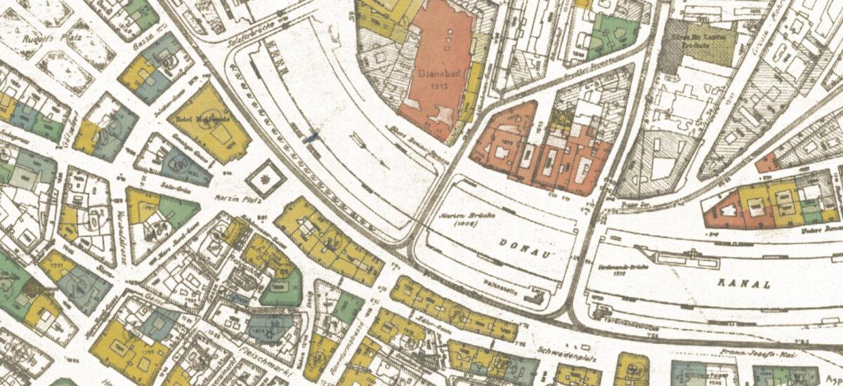 Kriegssachschädenplan 1946, das einzige Haus in der Mitte der Adlergasse, für das keine nennenswerten Beschädigungen erhoben wurden, ist jenes mit der Hausnummer 6 6
