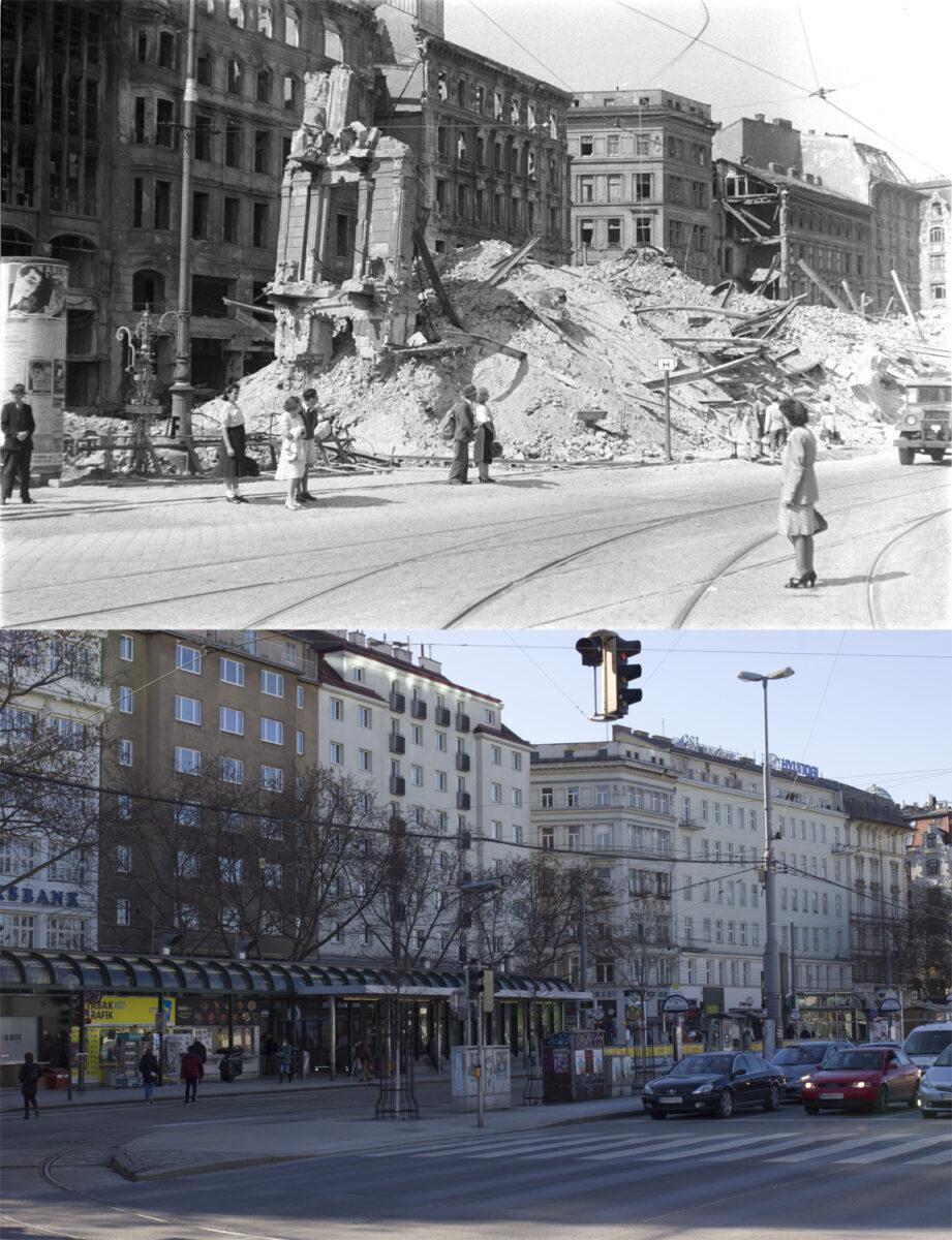 Vergleichsbild Adlergasse 1946 – heutige Situation
