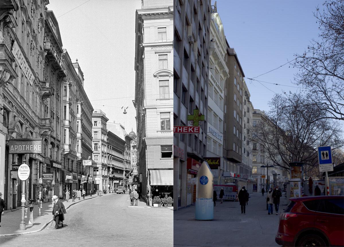 Vergleichsbild Adlergasse 1942 – heutige Situation