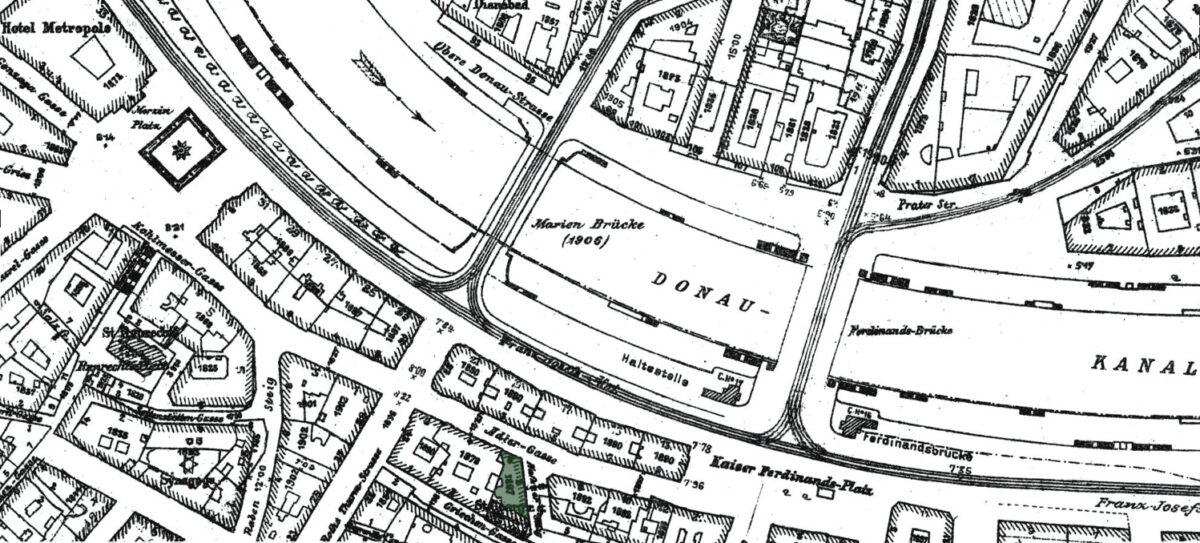 Generalstadtplan 1912, grün eingefärbt ist das ehemalige Haus Adlergasse 6 Quelle: https://www.wien.gv.at/kulturportal/public/