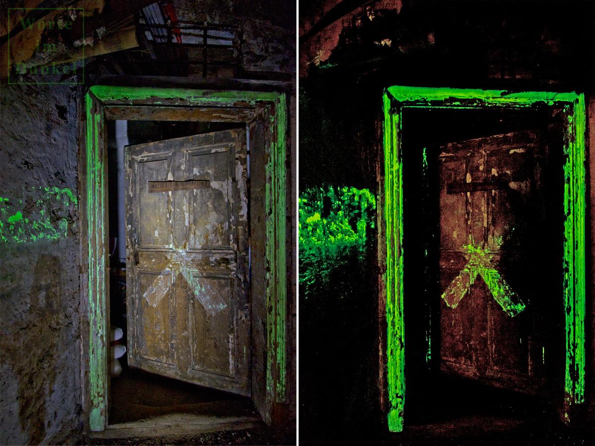 Das X zeigte den Personen im Luftschutzraum, hinter welcher Tür der Mauerdurchbruch ins Nachbarhaus lag. Auch diese Markierung erfolgte mit Leuchtfarbe.