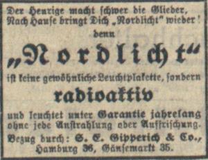 Annonce der Hamburger Firma Gipperich für radioaktive Leuchtplaketten, 1940